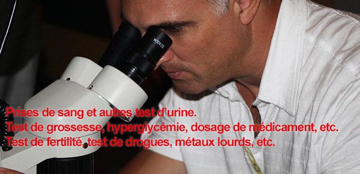 Prise de sang et test d'urine