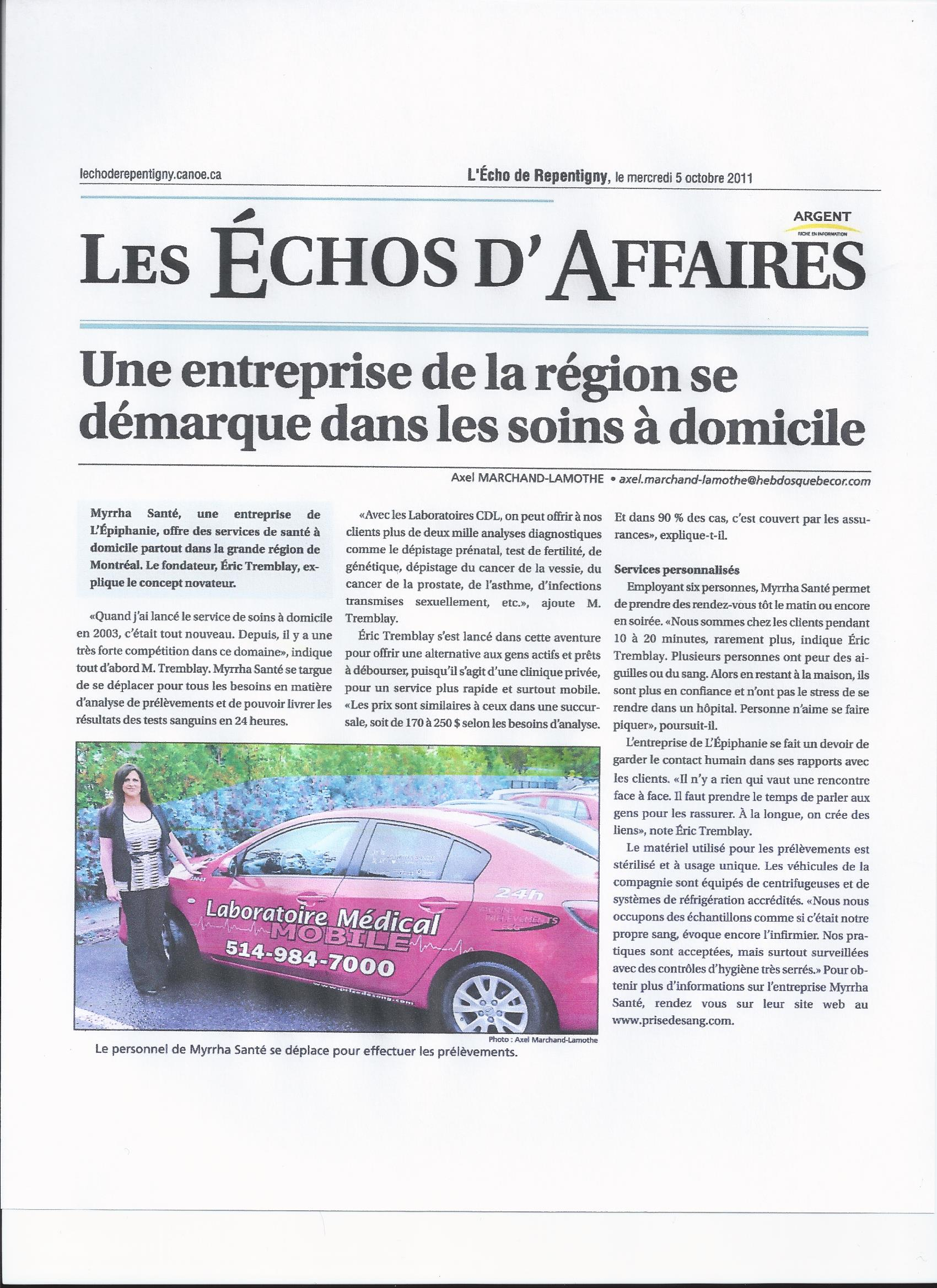 "écho d""affaires 2011"