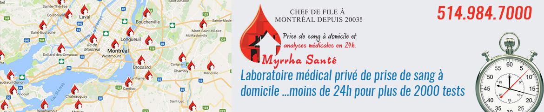 Prises de sang à domicile - Myrrha Santé - 514-984-7000
